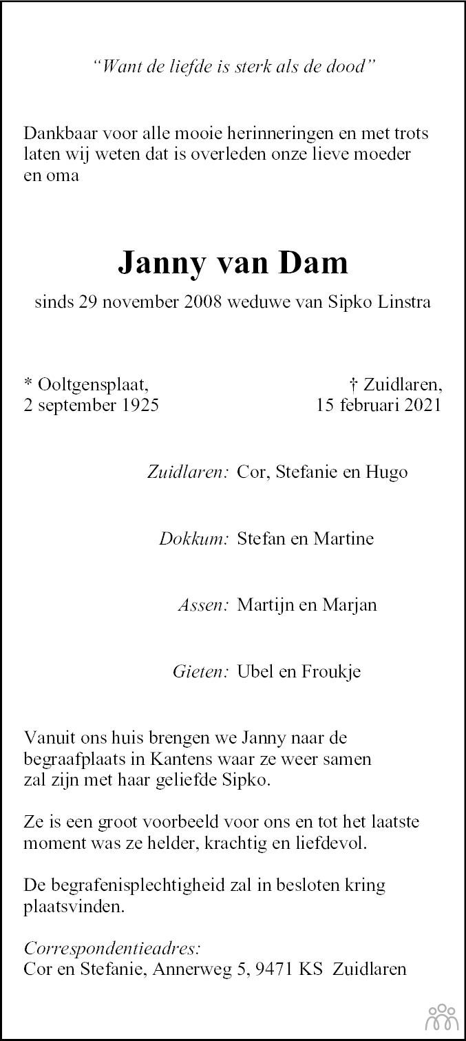 Overlijdensbericht van Janny van Dam in Dagblad van het Noorden