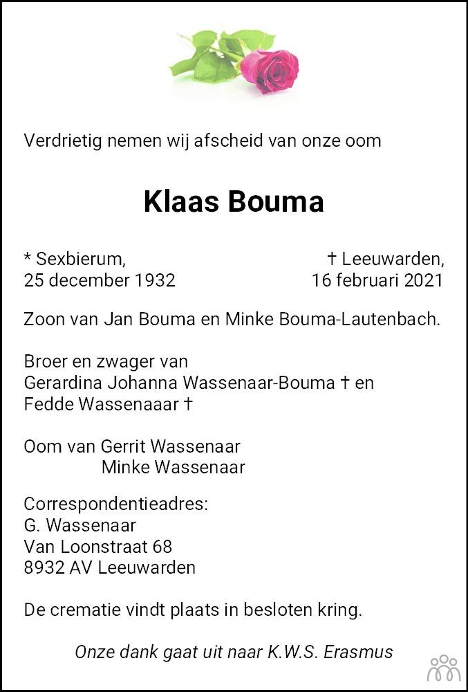 Overlijdensbericht van Klaas Bouma in Leeuwarder Courant