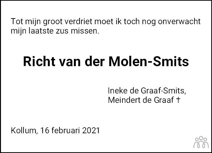 Overlijdensbericht van Richt van der Molen Smits in Nieuwsblad Noordoost-Friesland