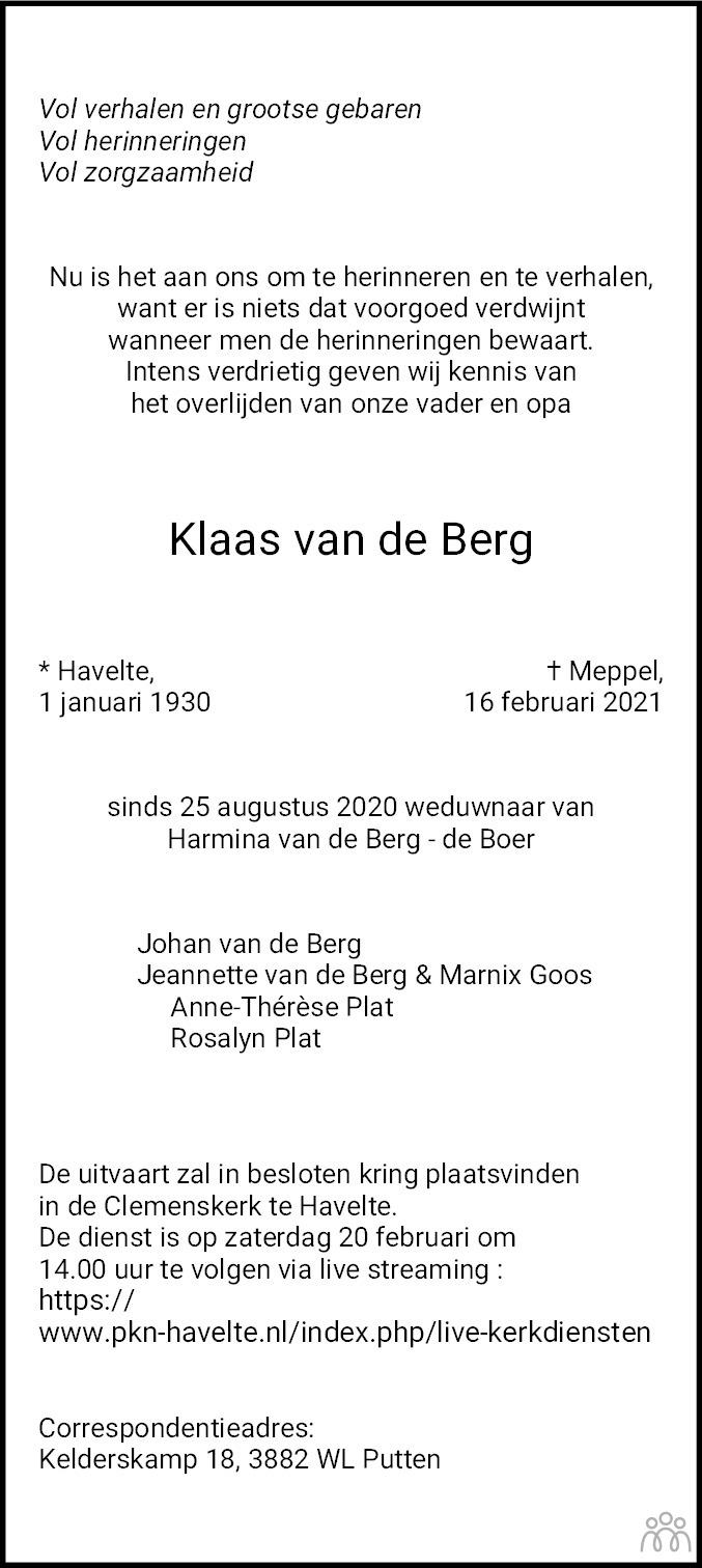 Overlijdensbericht van Klaas van de Berg in Meppeler Courant