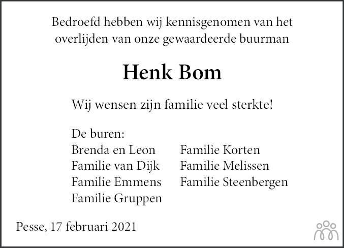 Overlijdensbericht van Hendrik (Henk) Bom in Hoogeveensche Courant