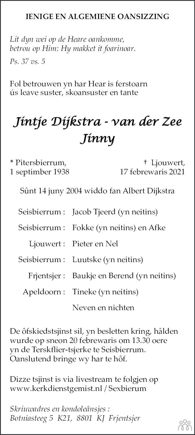 Overlijdensbericht van Jintje (Jinny) Dijkstra-van der Zee in Leeuwarder Courant