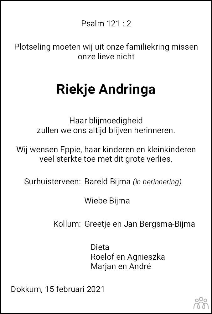 Overlijdensbericht van Diederika Hanna (Riekje) Andringa in Leeuwarder Courant