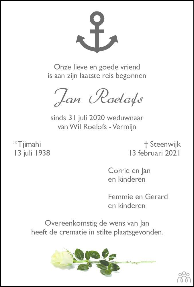 Overlijdensbericht van Jan Roelofs in Meppeler Courant