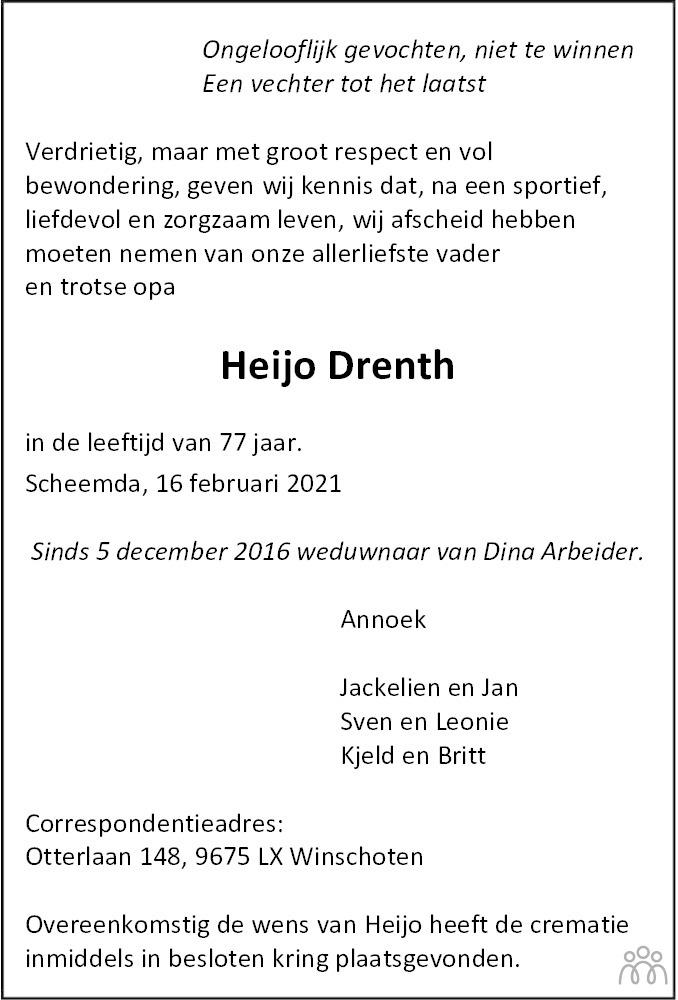 Overlijdensbericht van Heijo Drenth in Dagblad van het Noorden