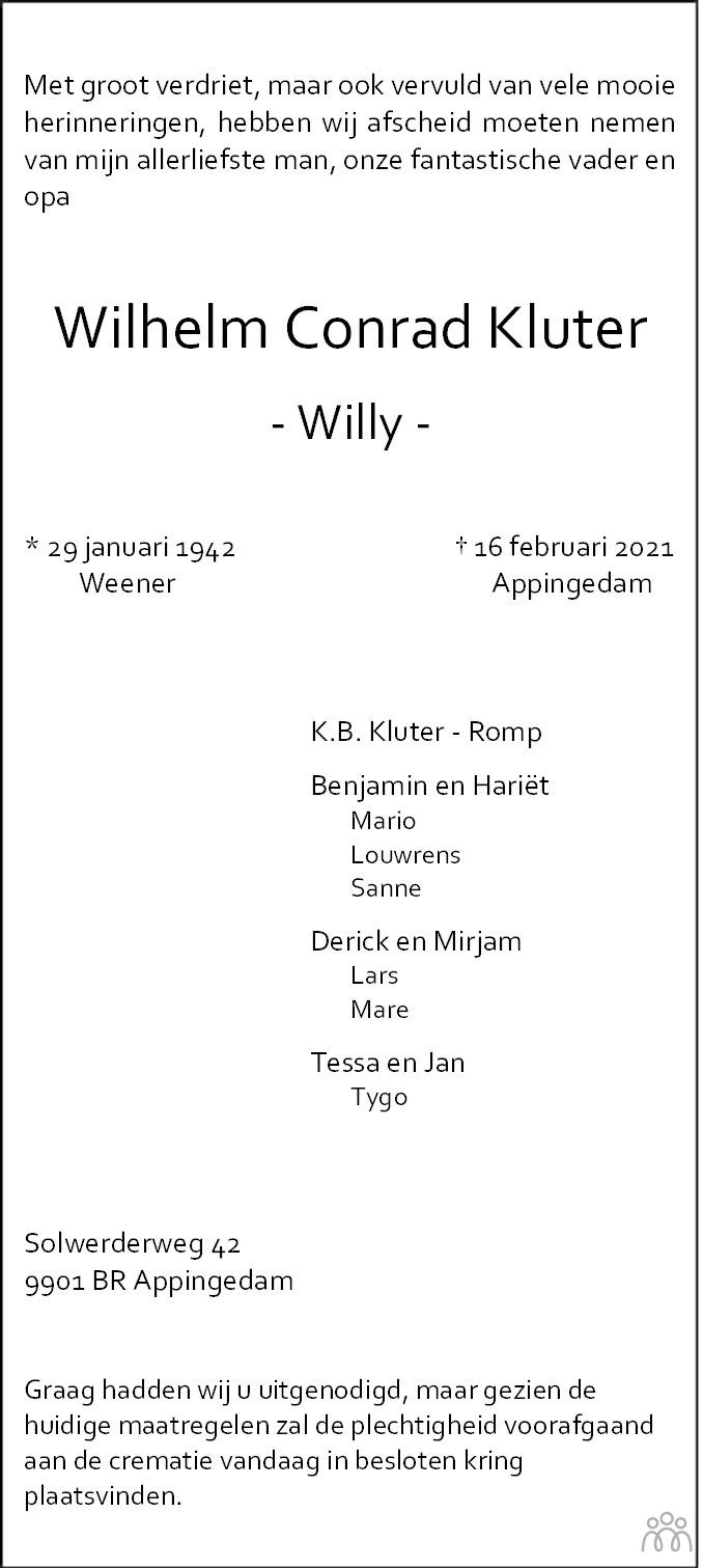 Overlijdensbericht van Wilhelm Conrad (Willy) Kluter in Dagblad van het Noorden