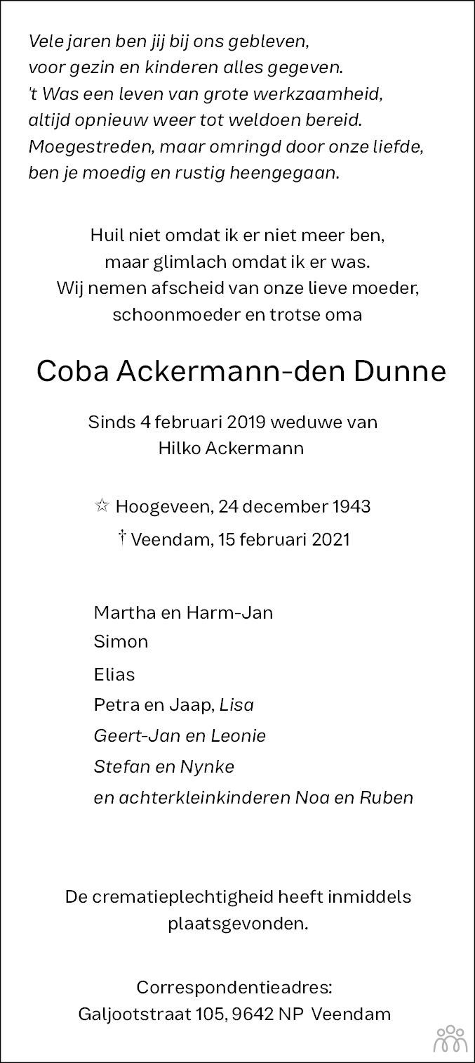 Overlijdensbericht van Coba Ackermann-den Dunne in Dagblad van het Noorden