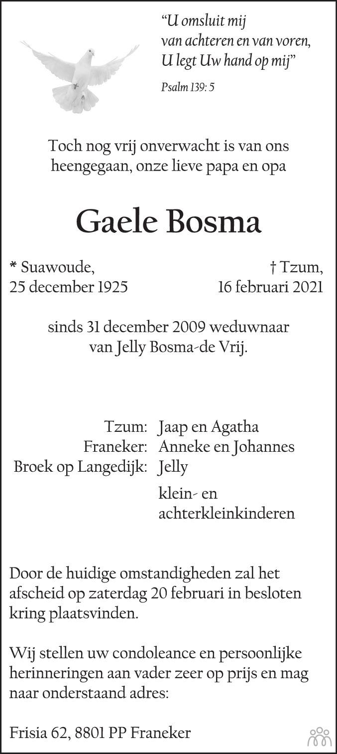 Overlijdensbericht van Gaele Bosma in Leeuwarder Courant