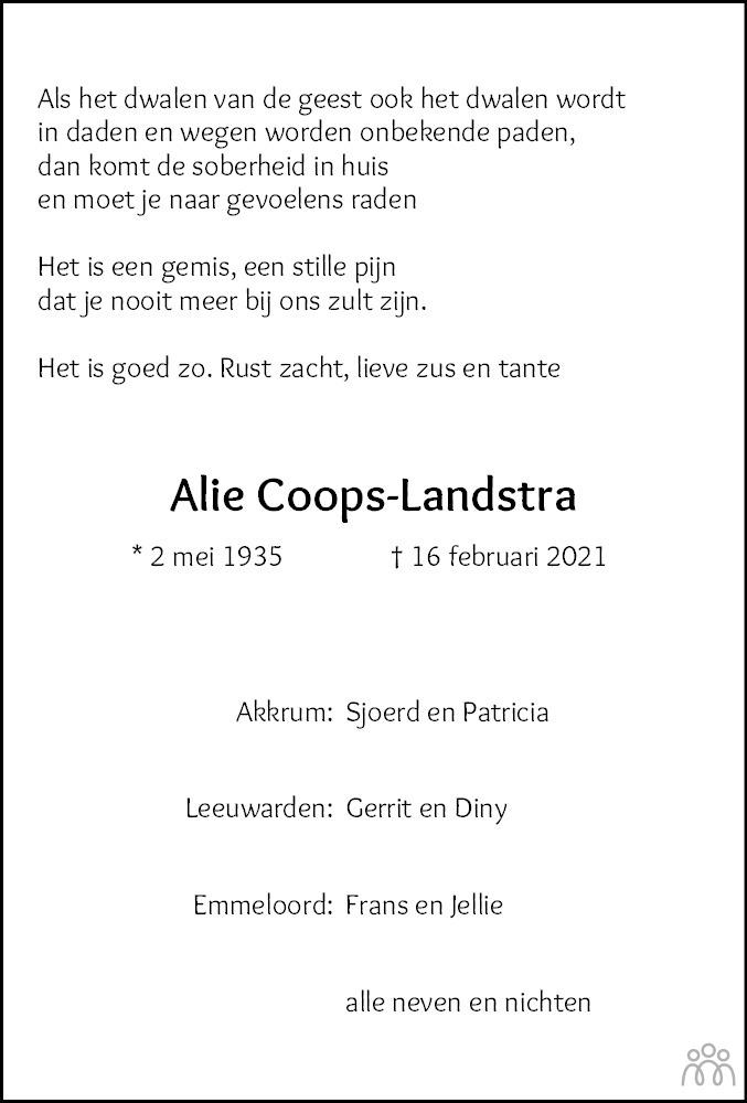Overlijdensbericht van Aaltje (Aly) Coops-Landstra in Leeuwarder Courant