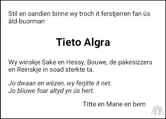 Overlijdensbericht van Tieto Okke Algra in Leeuwarder Courant