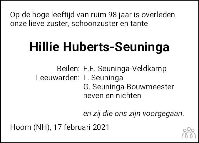 Overlijdensbericht van Hillie Huberts-Seuninga in Dagblad van het Noorden