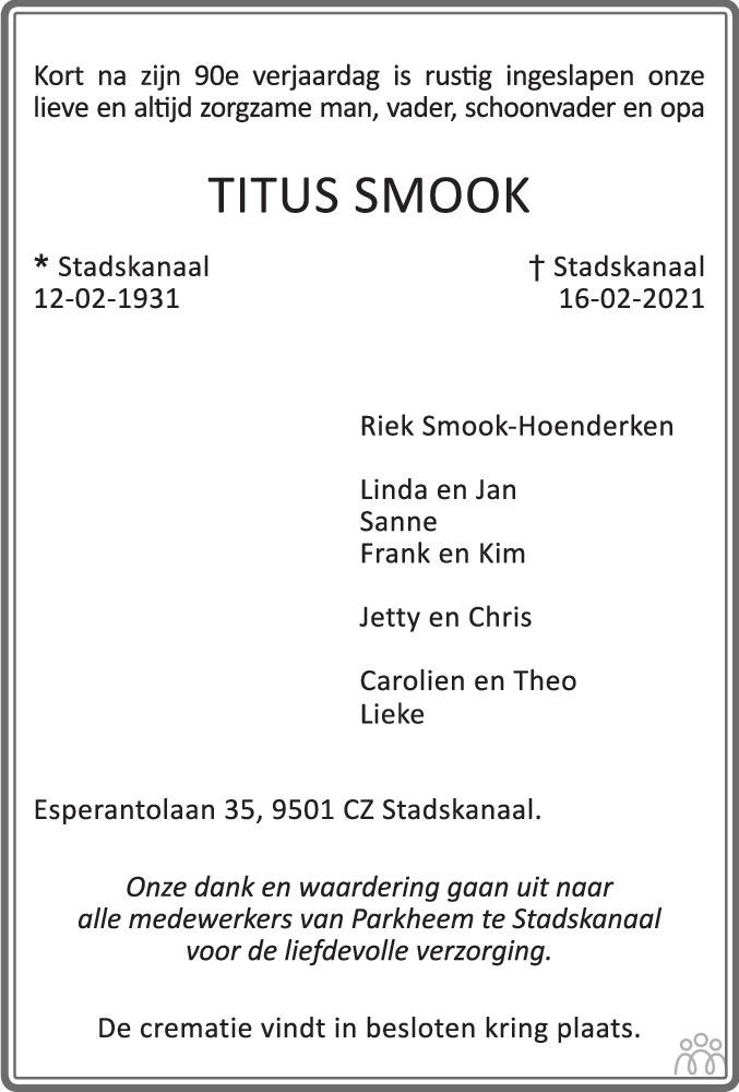Overlijdensbericht van Titus Smook in Dagblad van het Noorden