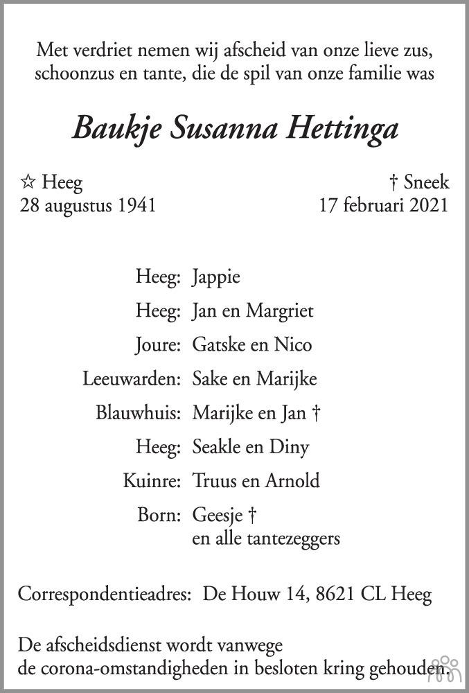 Overlijdensbericht van Baukje Susanna Hettinga in Leeuwarder Courant