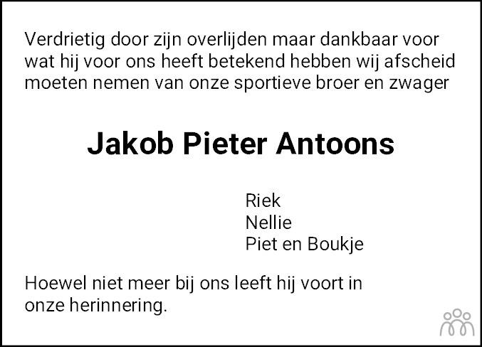 Overlijdensbericht van Jakob Pieter Antoons in Leeuwarder Courant