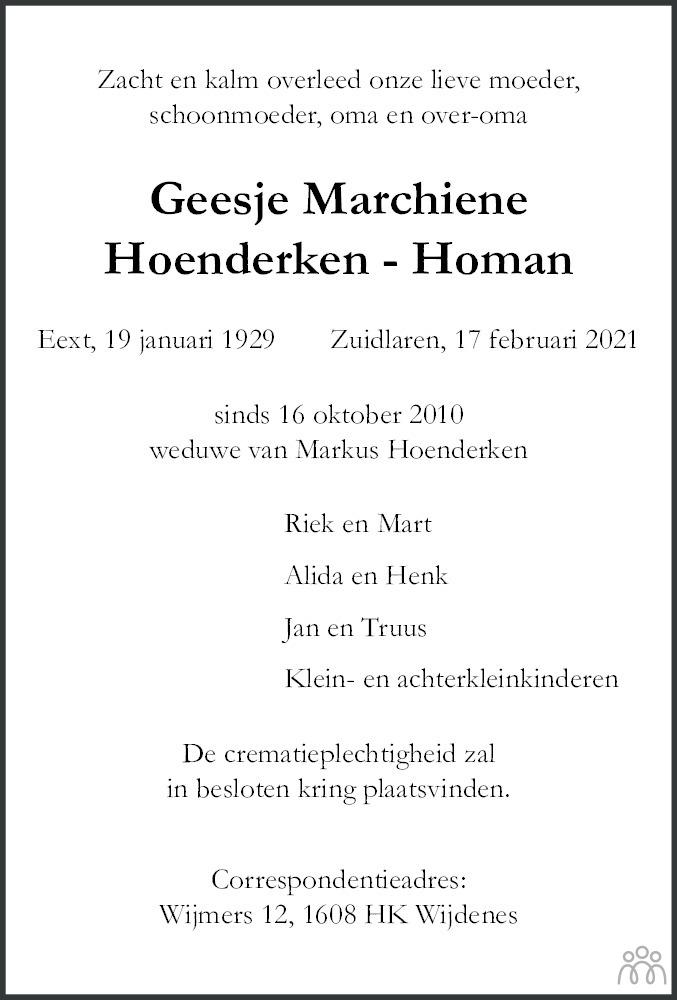 Overlijdensbericht van Geesje Marchiene Hoenderken-Homan in Dagblad van het Noorden