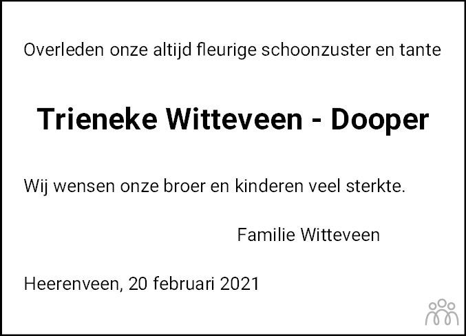 Overlijdensbericht van Catharina (Trieneke) Witteveen-Dooper in Leeuwarder Courant
