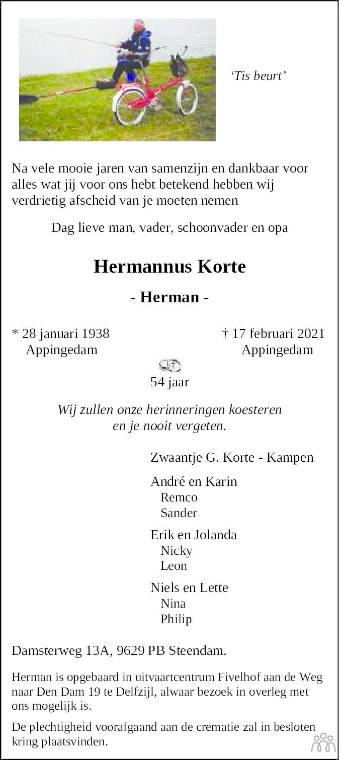 Overlijdensbericht van Hermannus (Herman) Korte in Dagblad van het Noorden