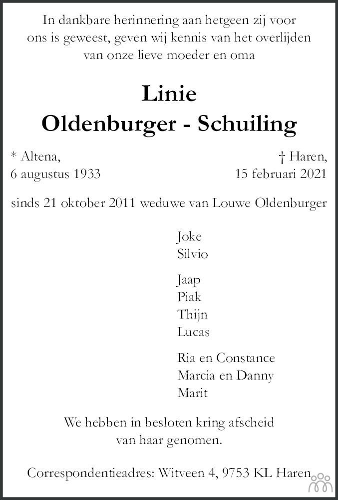 Overlijdensbericht van Linie Oldenburger-Schuiling in Dagblad van het Noorden