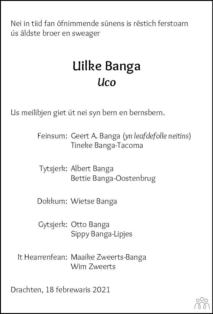 Overlijdensbericht van Uco Banga in Leeuwarder Courant