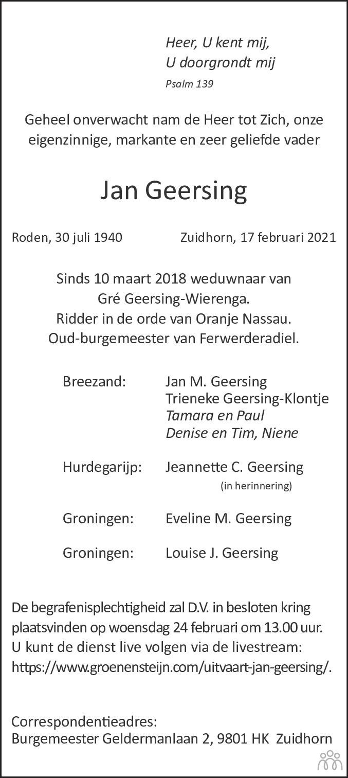 Overlijdensbericht van Jan Geersing in Dagblad van het Noorden