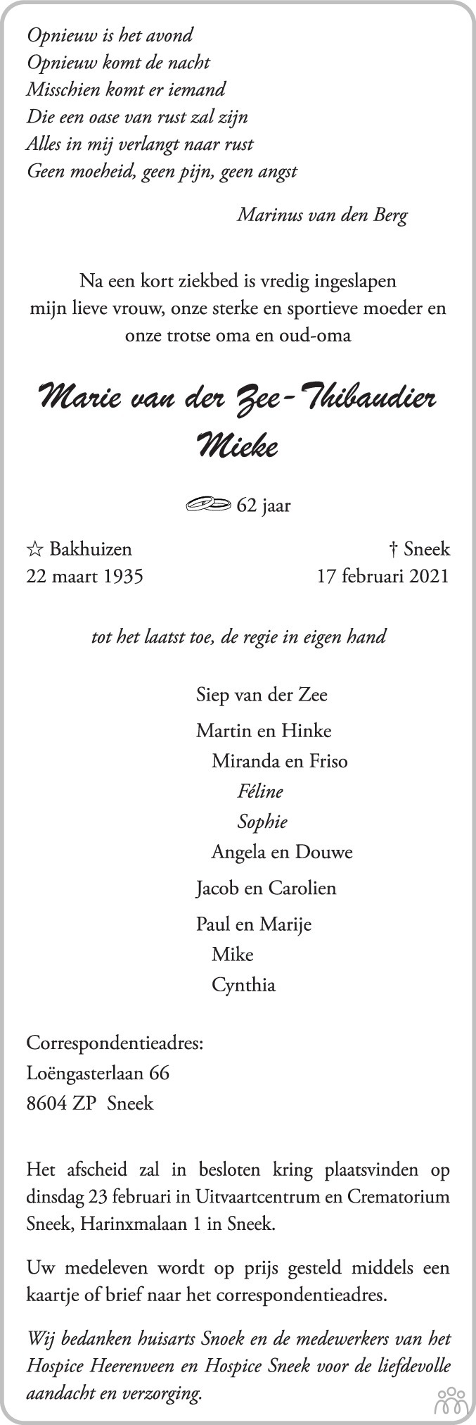 Overlijdensbericht van Marie (Mieke) van der Zee-Thibaudier in Leeuwarder Courant