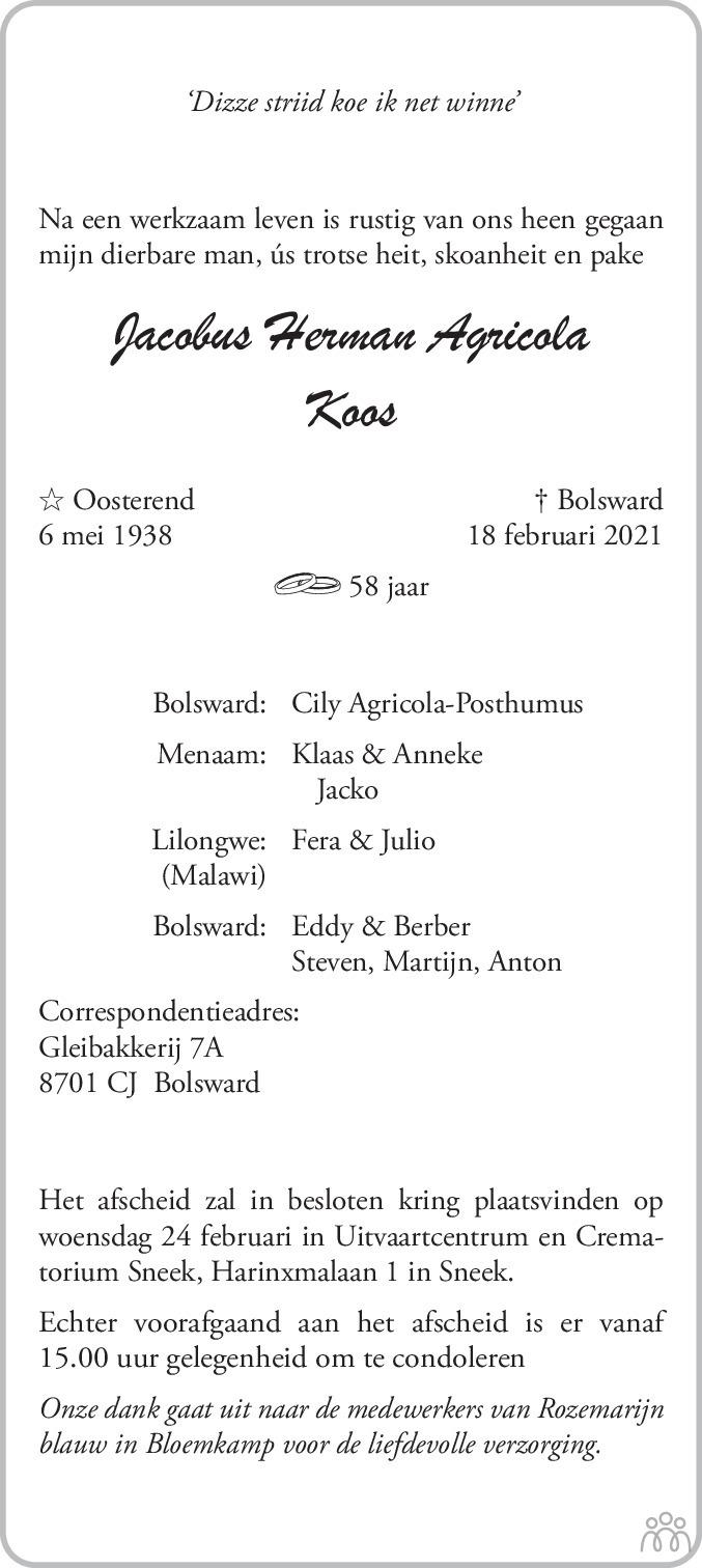 Overlijdensbericht van Jacobus Herman (Koos) Agricola in Leeuwarder Courant