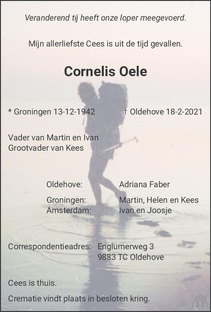 Overlijdensbericht van Cornelis Oele in Dagblad van het Noorden
