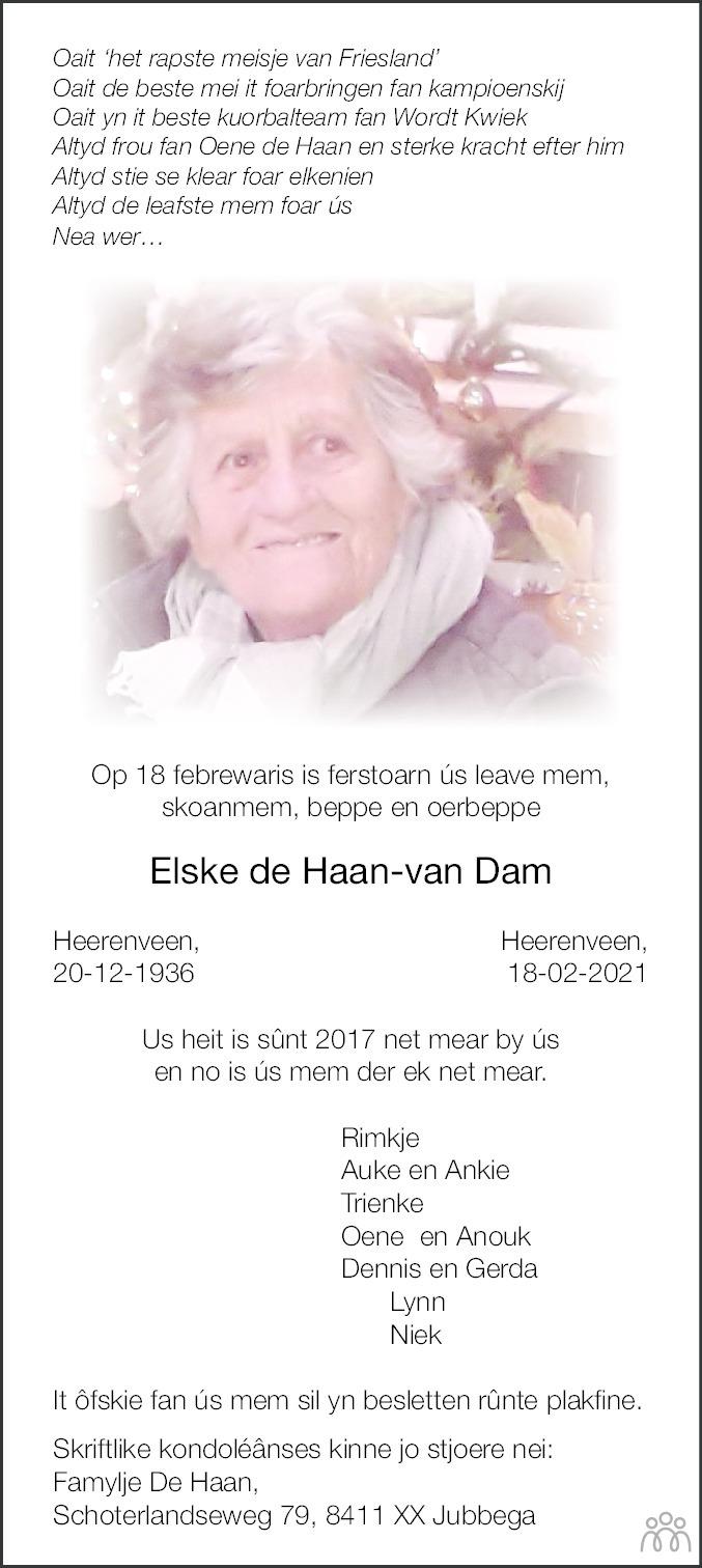 Overlijdensbericht van Elske de Haan-van Dam in Leeuwarder Courant