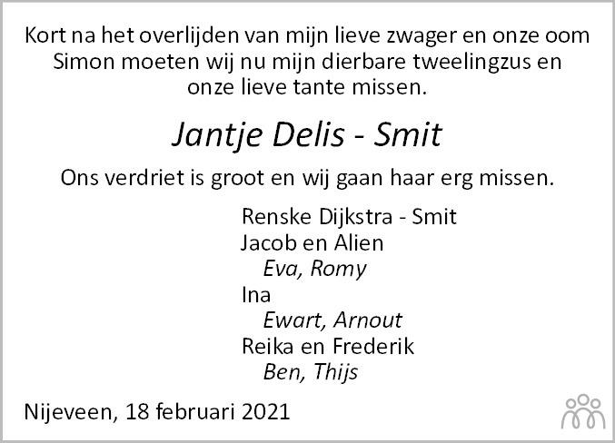 Overlijdensbericht van Jantje Delis-Smit in Dagblad van het Noorden