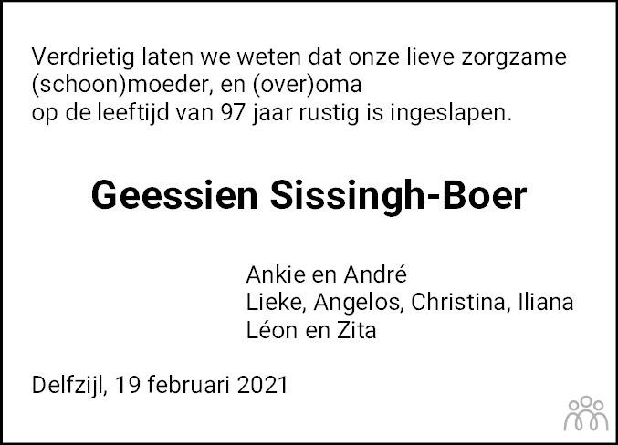 Overlijdensbericht van Geessien Sissingh-Boer in Dagblad van het Noorden
