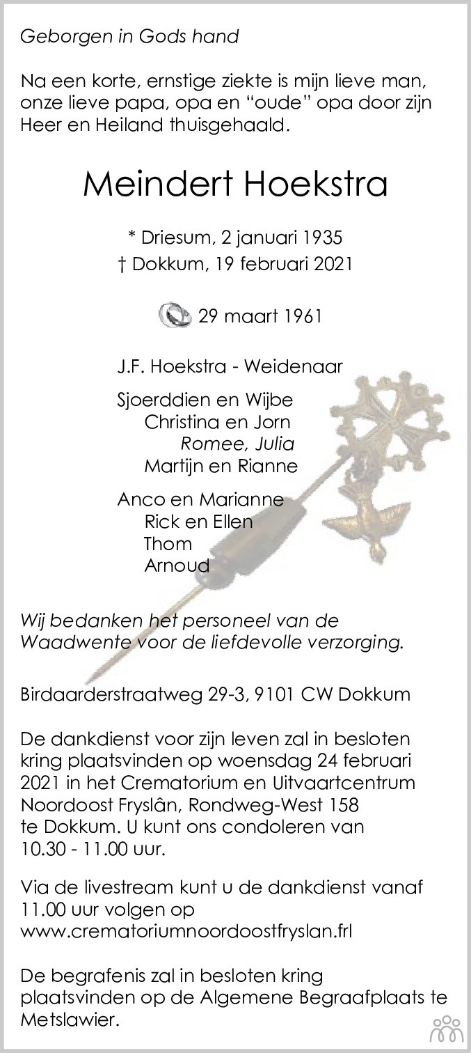 Overlijdensbericht van Meindert Hoekstra in Leeuwarder Courant