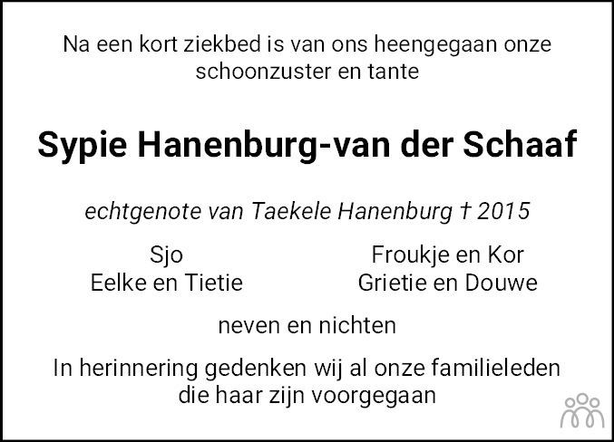 Overlijdensbericht van Sijbrigje (Sypie) Hanenburg-van der Schaaf in Leeuwarder Courant