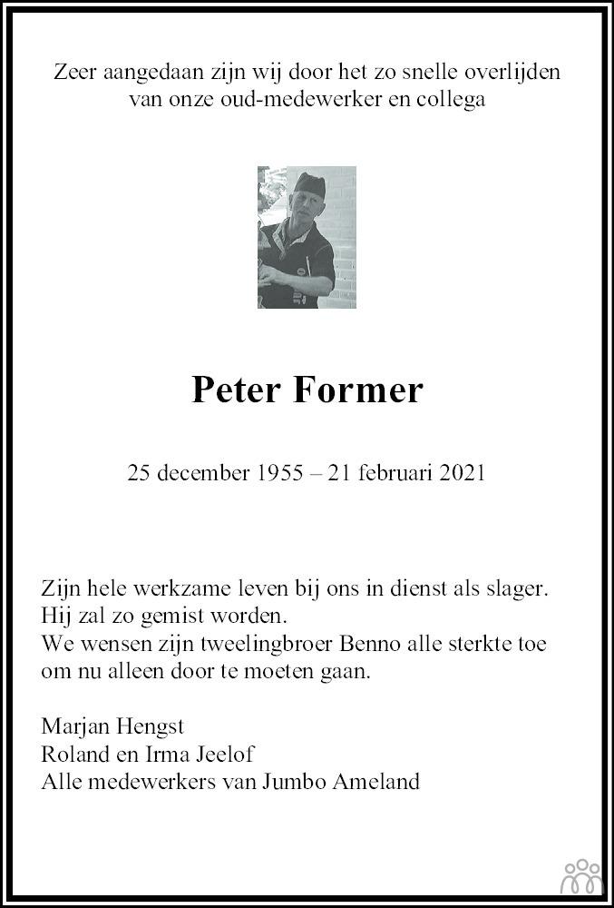 Overlijdensbericht van Peter Former in Leeuwarder Courant