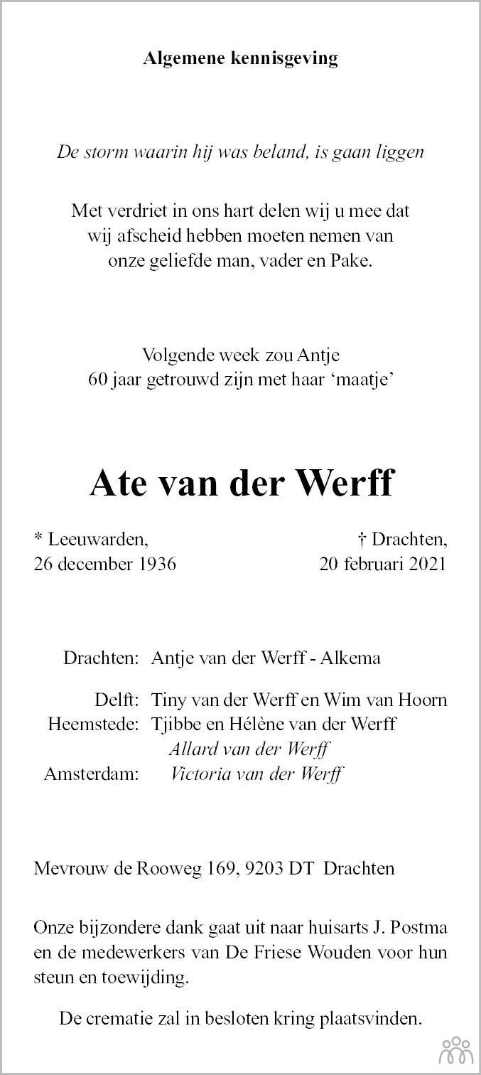 Overlijdensbericht van Ate van der Werff in Leeuwarder Courant