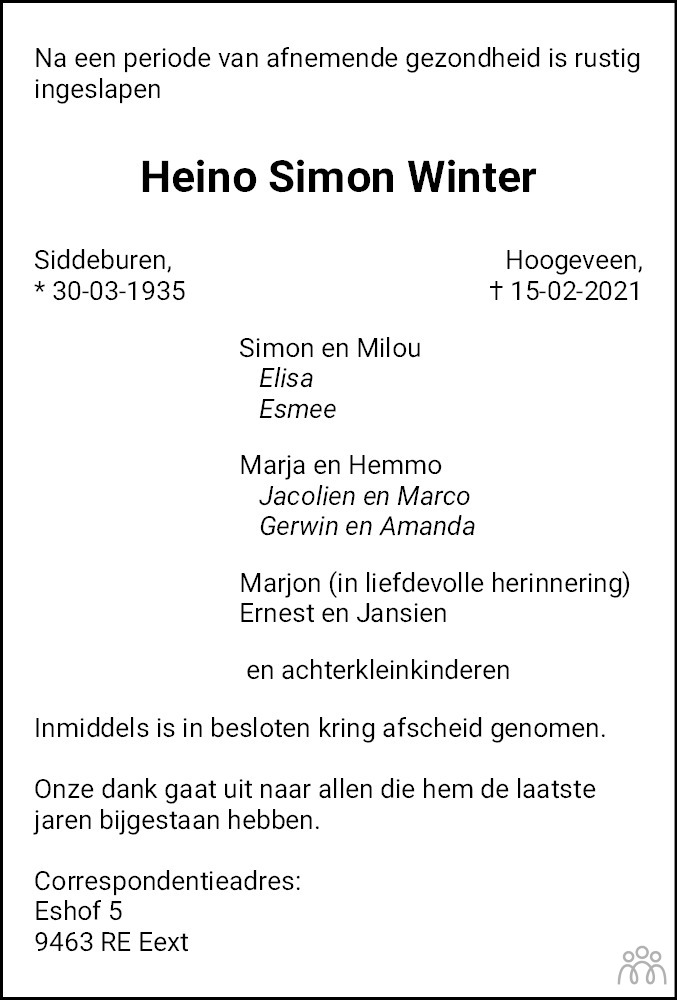 Overlijdensbericht van Heino Simon Winter in Dagblad van het Noorden