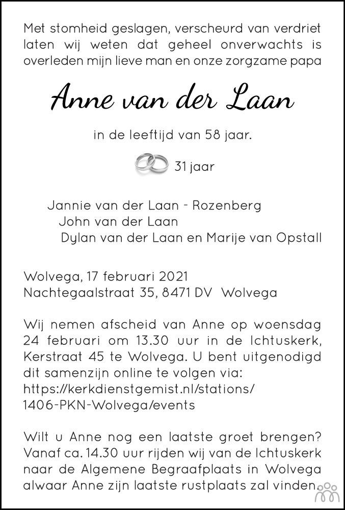 Overlijdensbericht van Anne van der Laan in Meppeler Courant
