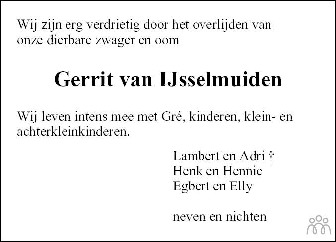 Overlijdensbericht van Gerrit van IJsselmuiden in Meppeler Courant