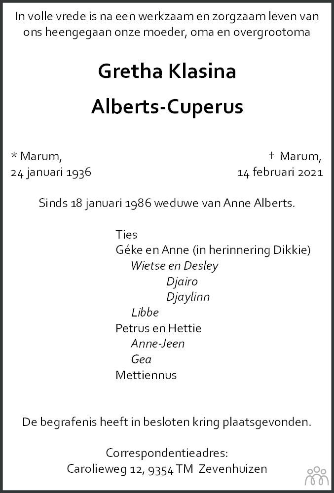 Overlijdensbericht van Gretha Klasina Alberts-Cuperus in Dagblad van het Noorden