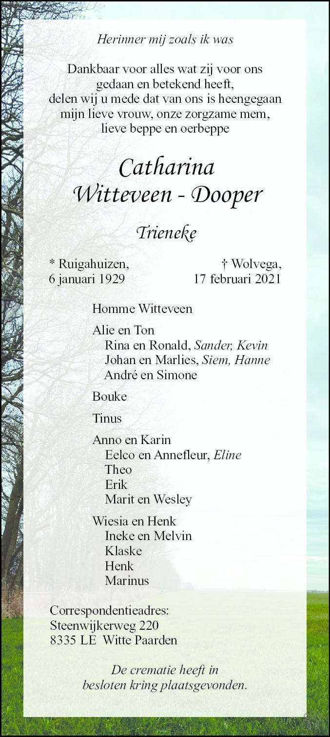 Overlijdensbericht van Catharina (Trieneke) Witteveen-Dooper in De Stellingwerf