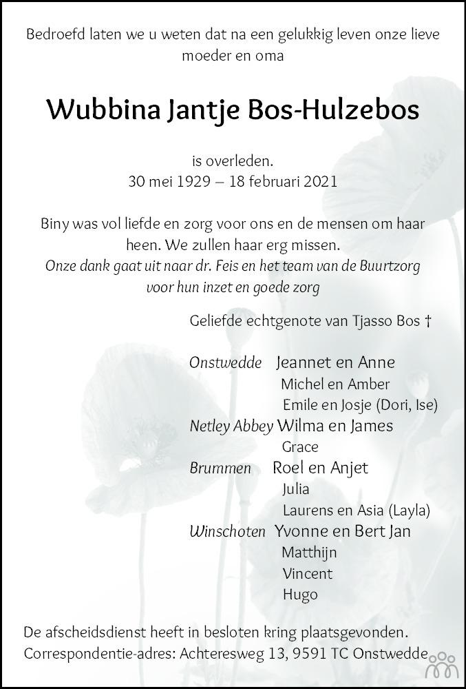 Overlijdensbericht van Wubbina Jantje Bos-Hulzebos in Dagblad van het Noorden