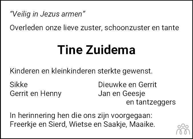 Overlijdensbericht van Trijntje (Tine) Frankes-Zuidema in Leeuwarder Courant