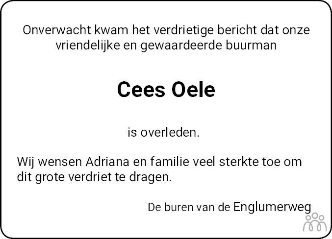 Overlijdensbericht van Cornelis Oele in Westerkwartier