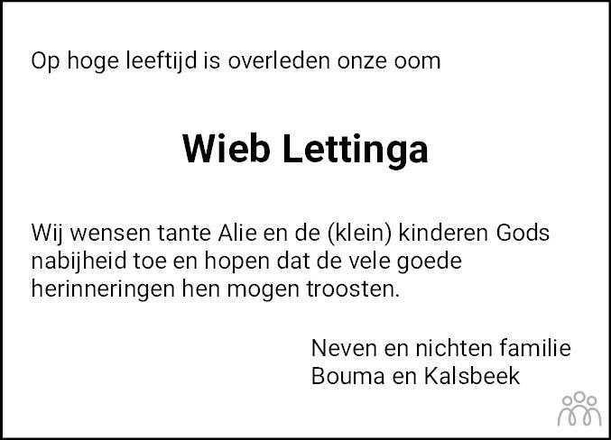 Overlijdensbericht van Wiebren Lettinga in Nieuwsblad Noordoost-Friesland