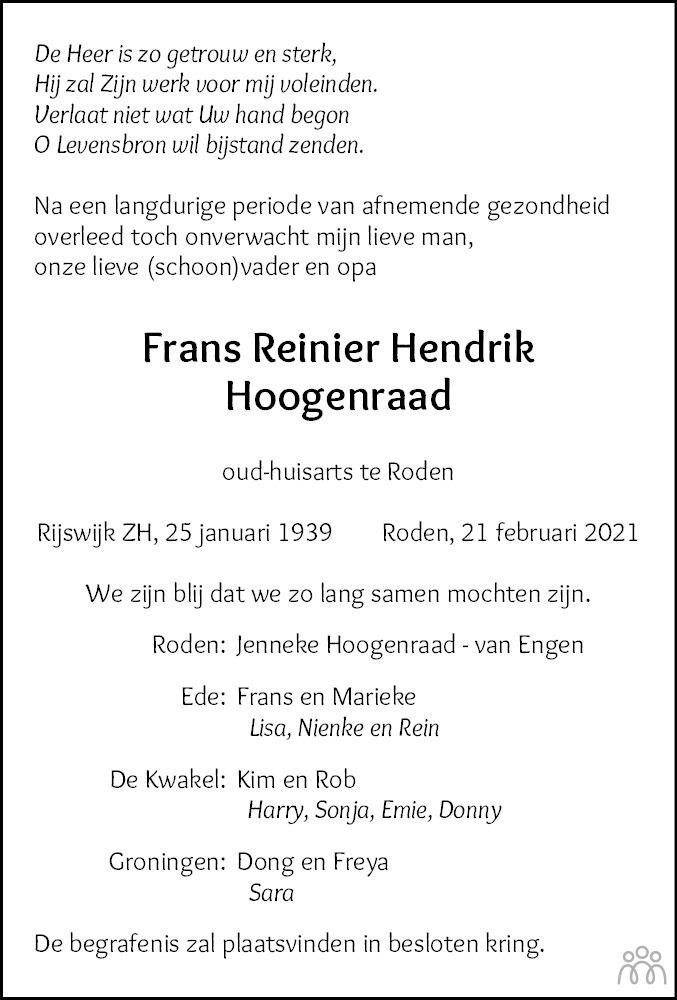 Overlijdensbericht van Frans Reinier Hendrik Hoogenraad in Dagblad van het Noorden