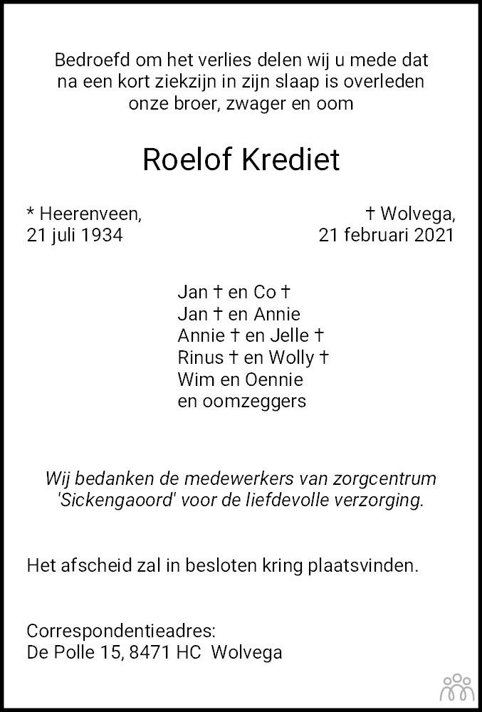 Overlijdensbericht van Roelof Krediet in De Stellingwerf
