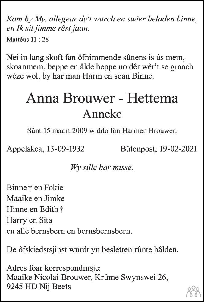 Overlijdensbericht van Anna (Anneke) Brouwer-Hettema in Leeuwarder Courant