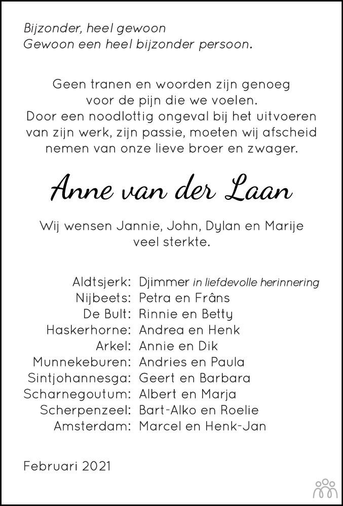 Overlijdensbericht van Anne van der Laan in De Stellingwerf