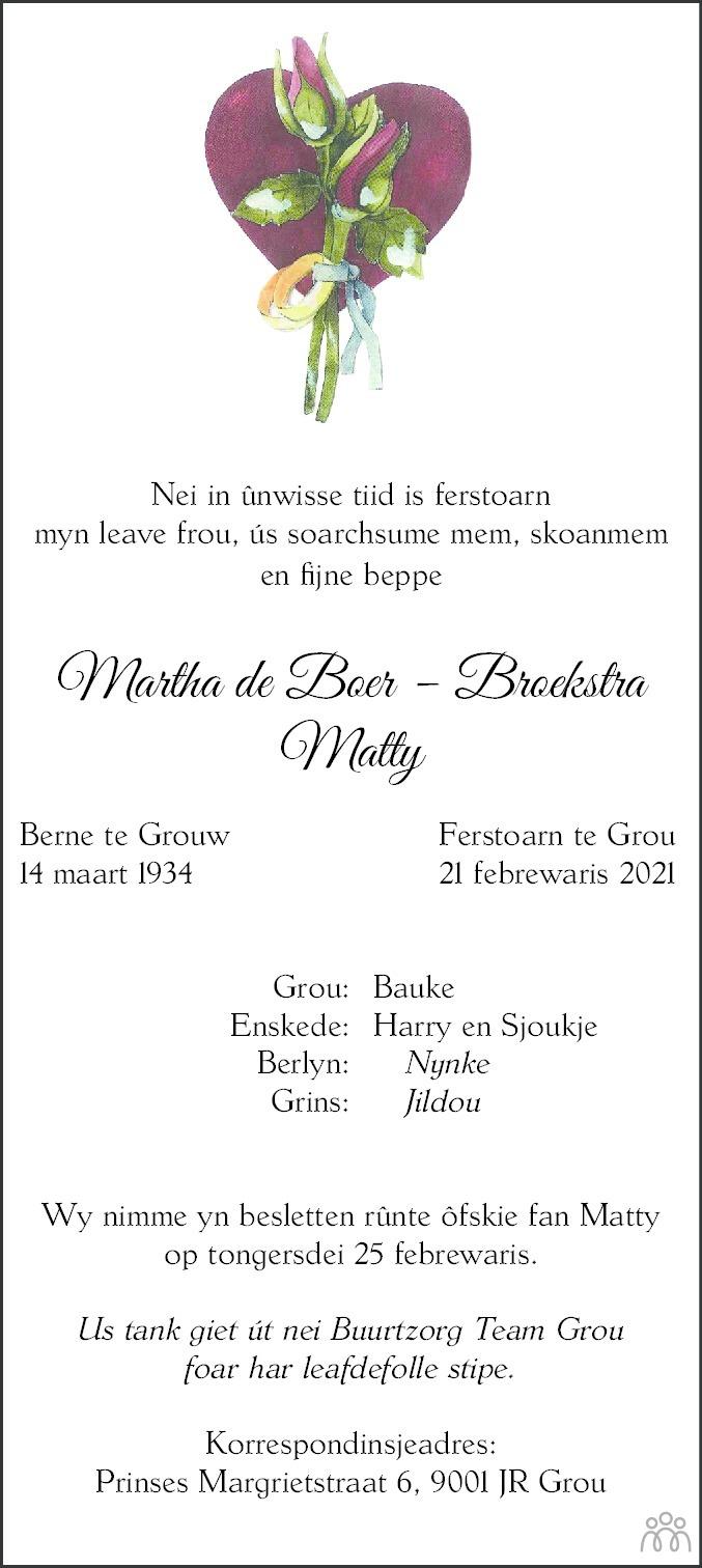 Overlijdensbericht van Martha (Matty) de Boer-Broekstra in Leeuwarder Courant
