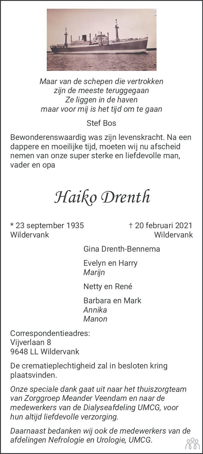 Overlijdensbericht van Haiko Drenth in Dagblad van het Noorden