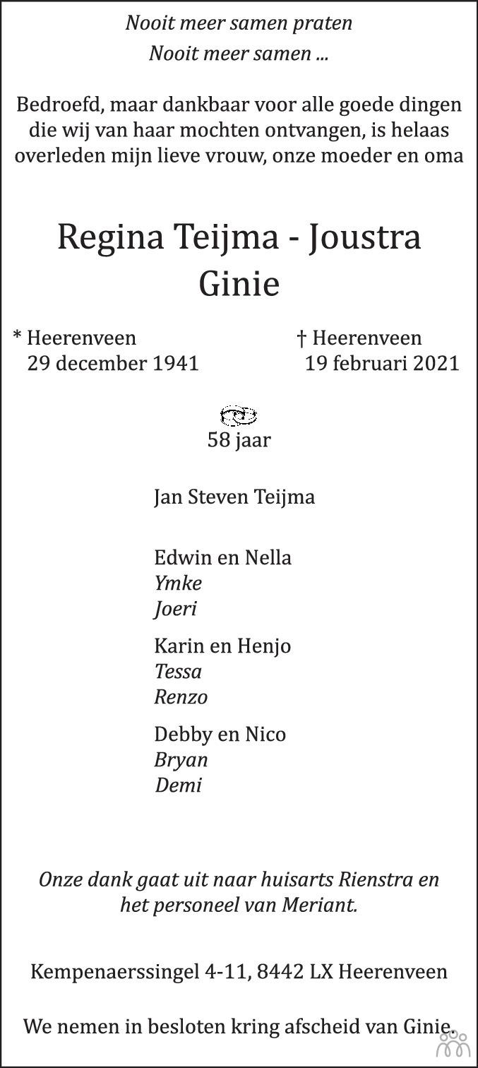 Overlijdensbericht van Regina (Ginie) Teijma-Joustra in Leeuwarder Courant